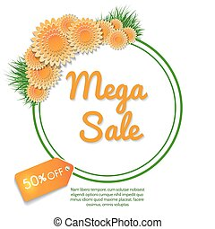 Mega sale banner with orange flowers bouquet and grass...