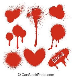 Blood splatters isolated on white