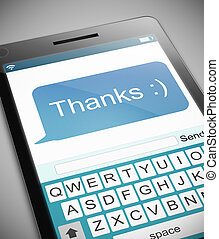 Thanks text message concept. - Illustration depicting a...