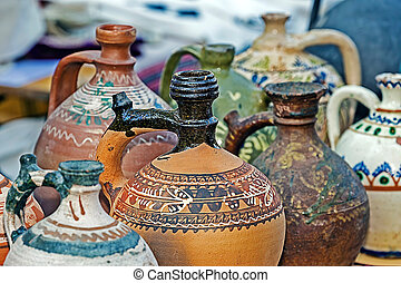 Romanian traditional ceramic in the form of jugs. Banat,...