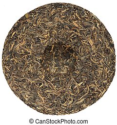 Chinese raw puerh tea with stone impress overhead view...
