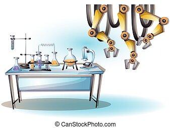 separado, capas, habitación, Ilustración,  vector,  interior, laboratorio, caricatura