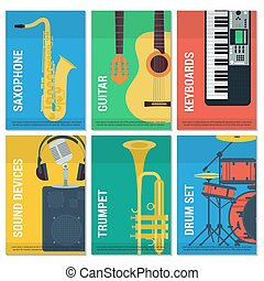 Six flat banners musical instruments - Vector template six...