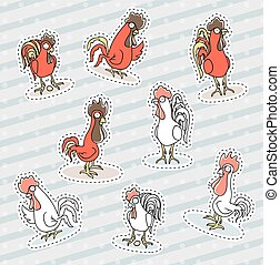Rooster, chicken sticker patch, the symbol of the new year.