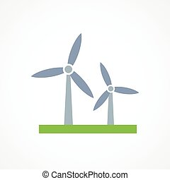 Wind turbine icon sign on white background