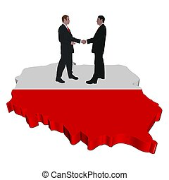 people meeting on Poland map flag