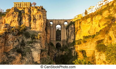 Ronda Puente Nuevo - Day and dusk to night time lapse in 4K...