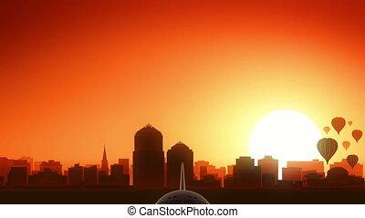 Albuquerque New Mexico USA America Skyline Sunrise Take Off...