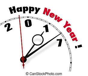 Happy New Year 2017 - White clock with words Happy New Year...