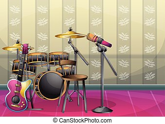 cartoon vector illustration interior music room with separated layers