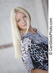 portrait of blond woman outdoor