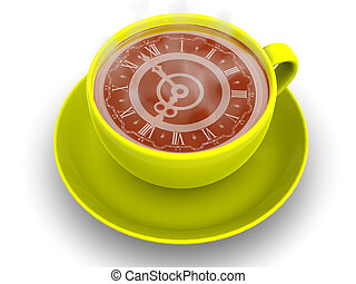 Cup with clock. Eight o\'clock