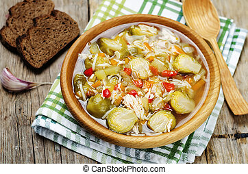 Brussels sprouts zucchini noodles chicken soup toning...