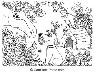 Vector illustration zentangl a horse and dog in the flowers....