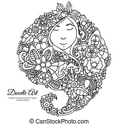 Vector illustration zentangl girl with flowers in her hair....