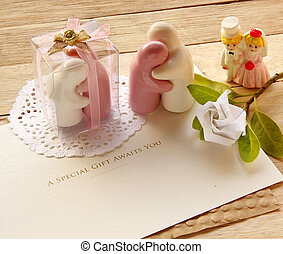 Valentine Abstract with Souvenir Wedding are on wooden...