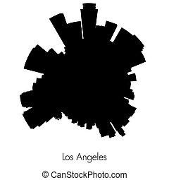 Los Angeles vector circular skyline - Los Angeles Planet...