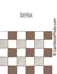 Hand drawn abstract chessboard pattern. Vector illustration.