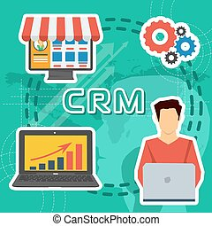 Greeen background CRM concept - thick lines - Vector greeen...