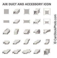 Air Duct Icon - Vector icon of air duct and accessory for...