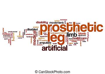 Prosthetic leg word cloud concept