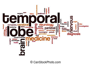 Temporal lobe word cloud concept