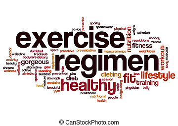 Exercise regimen word cloud concept
