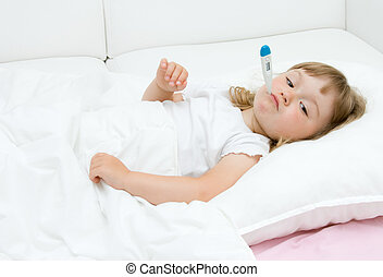 sick little girl - sick litttle girl on bed
