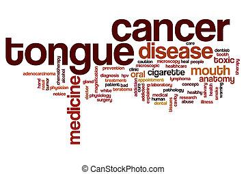 língua, palavra,  câncer, nuvem