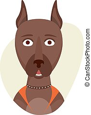 Cartoon cute doberman dog. Isolated objects on white...