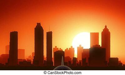 Atlanta Georgia USA America Skyline Sunrise Take Off - Very...