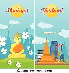 Thailand Travelling Banner. Thai Landmarks - Thailand...