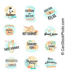 Set of Summer Logo Icons. Summer Time - Set of summer logo...