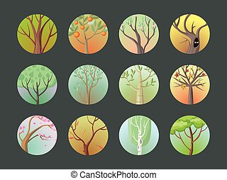 Vector Trees Set. Collection of Different Types - Vector...