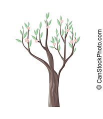 Vector Tree in Blossom with Beautiful Flowers - Vector tree...