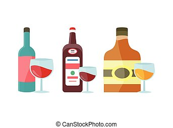 Bottles with Alcohol Vector in Flat Style Design. - Bottles...