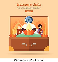 India Travel Banner. Indian Landmarks in Suitcase - Welcome...