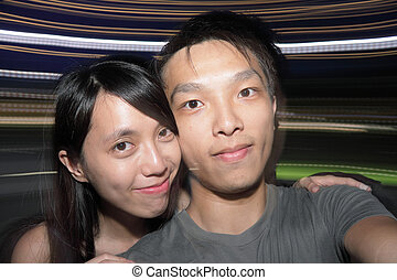 couple have fun in party, self portrait