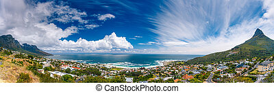 Cape Town panoramic landscape - Camps Bay and Lion's Head...