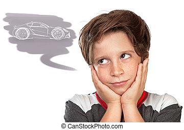 十代, 男の子, について, 夢を見ること, 自動車