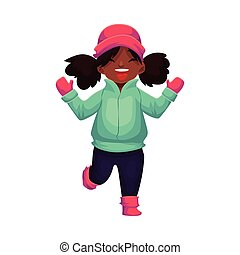 Happy little black skinned girl in winter clothes, cartoon...