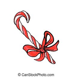 Christmas candy cane with red bow, cartoon vector...