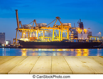 Cargo ship night - Cargo freight ship and cargo container...