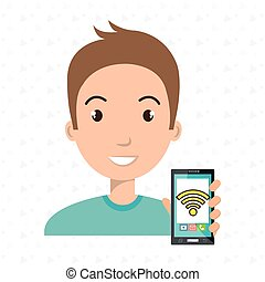 man cellphone wifi connected vector illustration eps 10