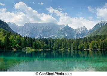 Beautiful lake with mountains in the background