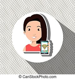 woman cellphone wifi connected vector illustration eps 10