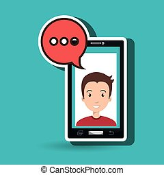 smartphone man speech bubble
