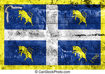 Flag of Turin, Italy, painted on dirty wall