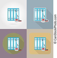 playground for curling sport game flat icons vector...