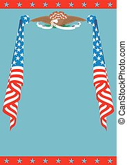 US Flag and Eagle patriotic border template.